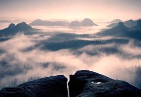 amanecer de ensueño en la cima de la montaña rocosa con niebla