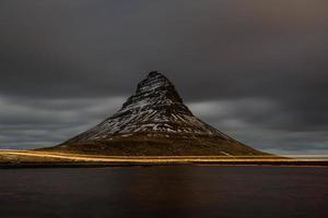 Icelandic mountain at night photo