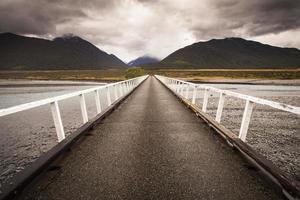 bridge to mountain scenery photo