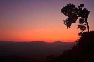 Sunset on mountain background