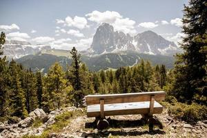 Bench in the mountains photo