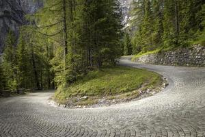 Winding mountain pavement road