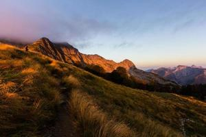 Sunrise in the mountains photo