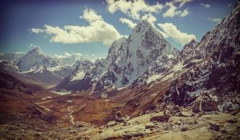 Retro vintage filtered picture of Himalaya mountains landscape, photo