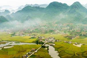 Rice field in valley, Bac son, lang son, vietnam photo