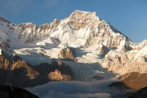 Evening view from Gokyo Ri to mount Gyachung Kang photo