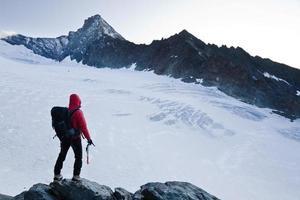 Climber mountain peak photo