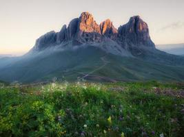 Sassolungo mountain peaks photo