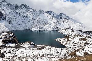 Mountain lake, Gosaikunda ridge peaks.