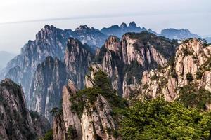 Mt Huangshan with pine tree photo
