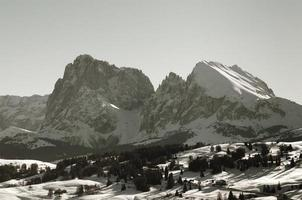 Sassolungo and Sassopiatto: Dolomites in winter, Italian Alps photo