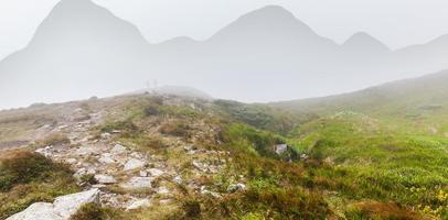 Woman talking on the Montenegrin ridge photo