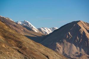 Mountain range at Pangong Lake.Light and shade from runrise.