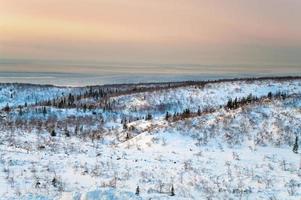 Polar night in mountains photo