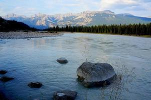 Mountain stream at twilight photo