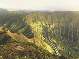 Top Of Ko'olau Mountain Range Morning Light View Highway