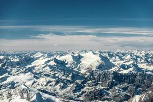 aerial view to snowy mountain peaks in austria tyrol
