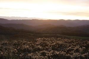 amanecer en las montañas humeantes