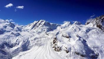 neige, alpes, montagnes, à, nuages