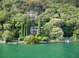 Mountain side house on lake