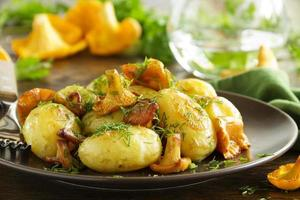 Fried potatoes with chanterelle mushrooms. photo