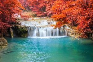Waterfall in deep rainforest.