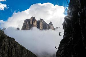 View of a via ferrata with mountains in background