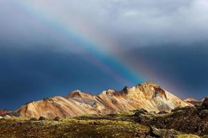 Mountain rainbow in Landmannalaugar Iceland