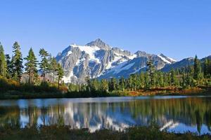 Reflection of Rugged Mountain Peak photo
