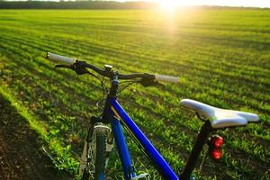 Mountain bicycle at sunny evening photo