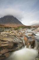 fast flowing stream and mountain photo