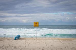 Blue surfboard at shoreline near signage photo