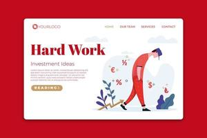 Hard Work Landing Page vector