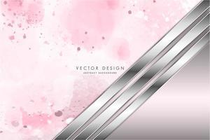 Metallic silver metal panels over pink watercolor texture vector