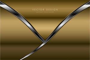 Paneles dorados de lujo con diseño de borde plateado. vector