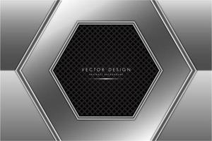 Metallic grey hexagon shape with carbon fiber texture vector