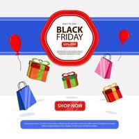 banner de viernes negro con caja de regalo