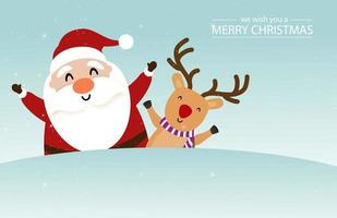 Christmas design with cute Santa Claus and reindeer