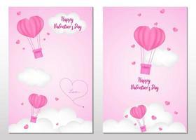 feliz día de san valentín juego de tarjetas de arte en papel