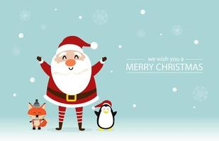 Christmas design with cute Santa Claus, fox, penguin