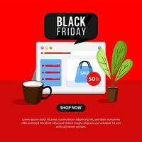 Banner de viernes negro con tienda online y portátil.