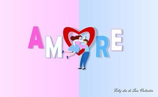 Paper art style couple in front of Amore text
