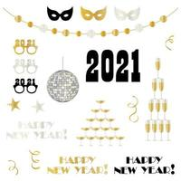 2021 new year's eve celebration elements vector