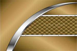 Paneles horizontales y curvos metálicos dorados sobre textura de tapicería vector