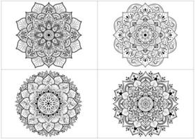 Set of round flower mandalas isolated on white vector