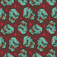 Zombie sull and blood splat pattern vector