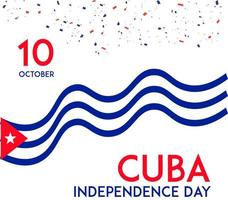 Cuba Independence day waving flag card design vector
