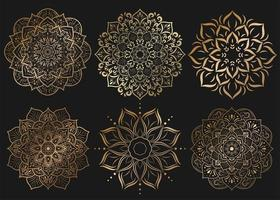 Set of golden mandalas with floral ornament pattern vector