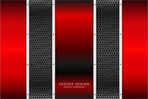 Paneles verticales rojos metálicos sobre textura de fibra de carbono vector