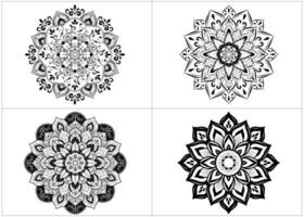 Set of round mandalas in black and white